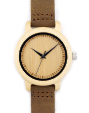 BOBO BIRD Women's Bamboo Real Leather Strap Wooden Quartz Watch