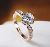 Rose Gold Zircon Engagement Rings
