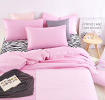 UNIHOME Luxury Zebra Full/Queen Duvet cover set 300 thread count fiber reactive prints bedding set PINK