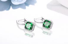 Emerald Silver Earrings