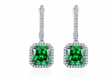 Emerald Silver Earrings