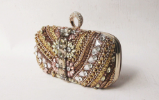 Vintage Pearl  Elegant Diamond Bag